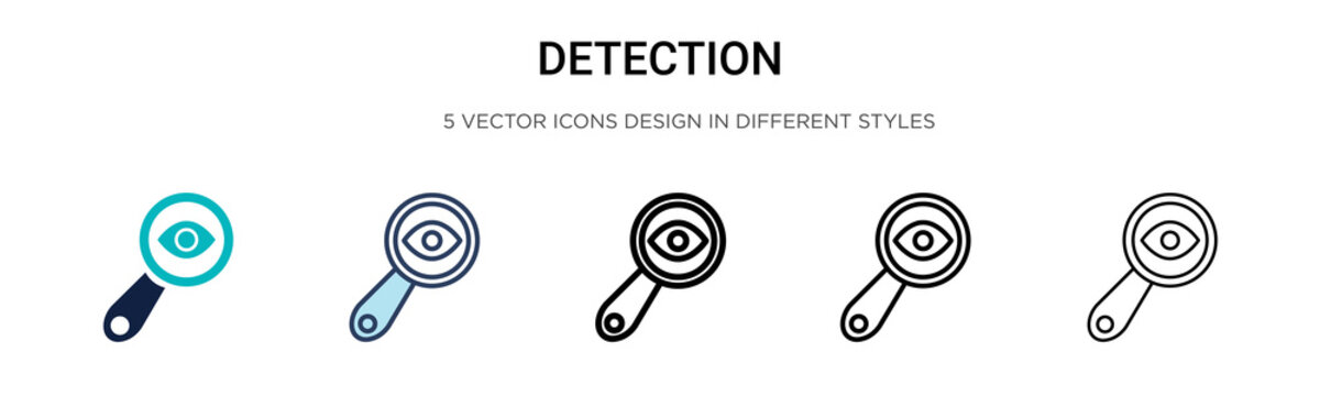 Detection icon in filled, thin line, outline and stroke style. Vector illustration of two colored and black detection vector icons designs can be used for mobile, ui,