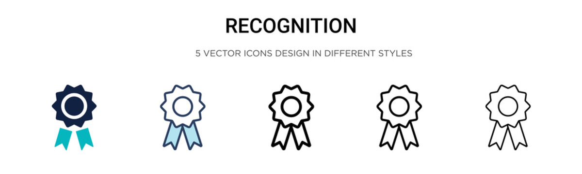 Recognition icon in filled, thin line, outline and stroke style. Vector illustration of two colored and black recognition vector icons designs can be used for mobile, ui,
