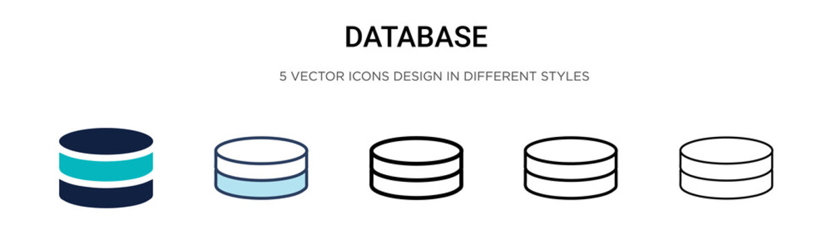 Database icon in filled, thin line, outline and stroke style. Vector illustration of two colored and black database vector icons designs can be used for mobile, ui,