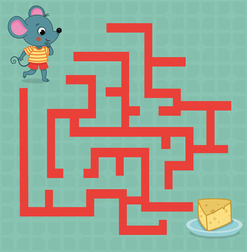 Maze game for kids. Vector illustration of a mouse and a cheese plate.