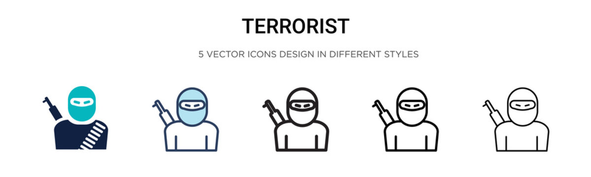 Terrorist icon in filled, thin line, outline and stroke style. Vector illustration of two colored and black terrorist vector icons designs can be used for mobile, ui,