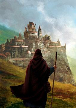 illustration fantasy d'un magicien de dos devant une ville avec château dans la plaine