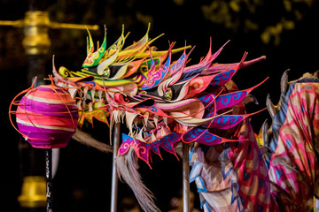 Close-up Of Multi Colored Chinese Dragons