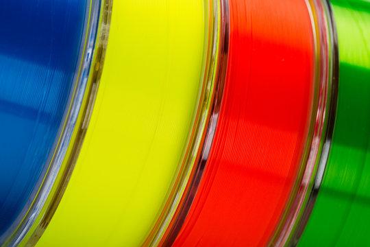 Multi-colored monofilament line for fishing