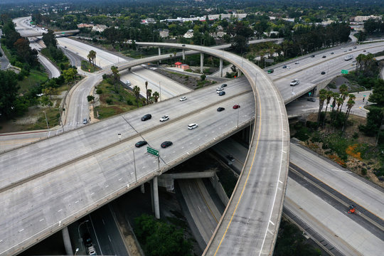An empty freeway intersection is seen two days before Earth Day, after Los Angeles' stay-at-home order caused a drop in pollution, as the global outbreak of the coronavirus disease (COVID-19) continues, in Pasadena