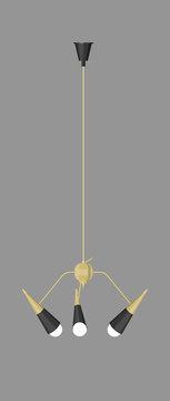 mid century hanging lamp illustration on background