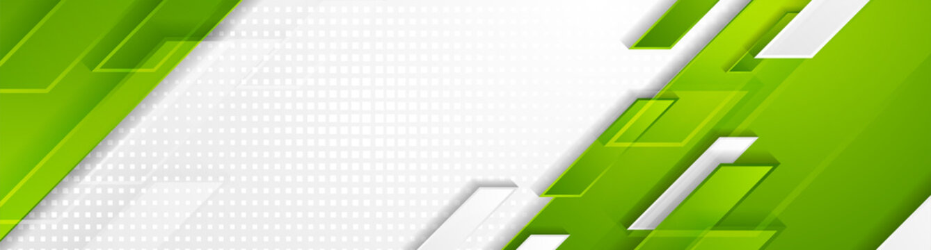 Bright green and grey geometric hi-tech shapes corporate banner design. Vector futuristic background