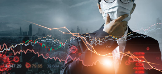 Obraz Economy crisis, Businessman with mask, Analysis corona virus economic impact, Crisis business and market financial conditions in the global Effects of outbreak and pandemic covid-19, Stocks fall. - fototapety do salonu