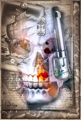 Poster Imagination Old fashioned background tarot card, revolver and skull