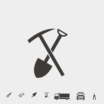 shovel and hoe icon vector illustration and symbol for website and graphic design