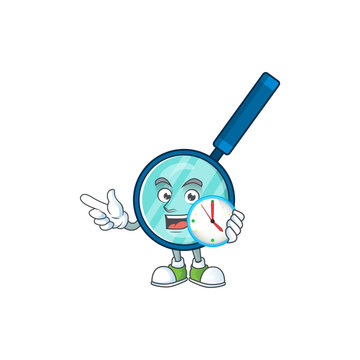 Magnifying glass mascot design concept holding a circle clock