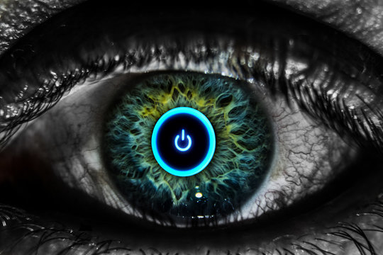 Digital Composite Image Of Cropped Eye With Icon