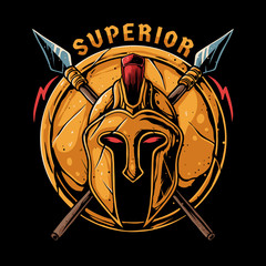 Spartan warrior helmet with spear and shield. Superior illustration for t-shirt design, sticker, or poster
