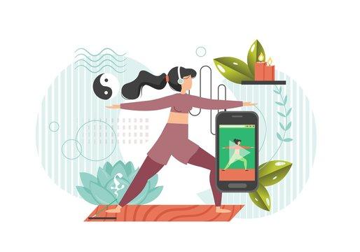 Online yoga, vector flat style design illustration