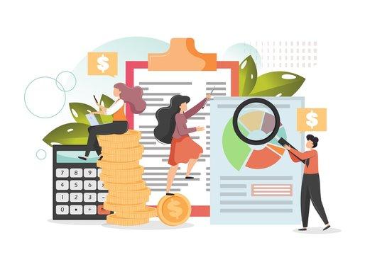Company budget planning, vector flat style design illustration