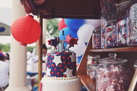 Close-up Of Cake For Sale At Market Stall