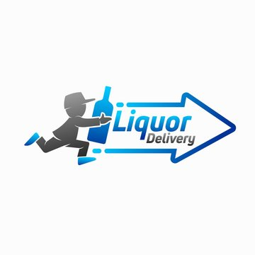 liquor logo design, delivery vector logo