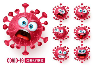 Obraz Covid19 corona virus emojis vector set. Covid-19 coronavirus emojis and emoticons with scary and angry facial expressions in white background. Vector illustration.  - fototapety do salonu