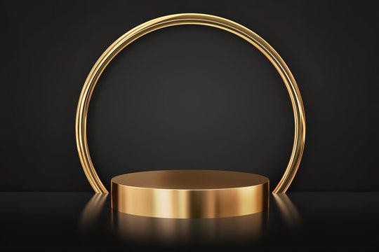 Gold empty product showcase podium and round gold frame