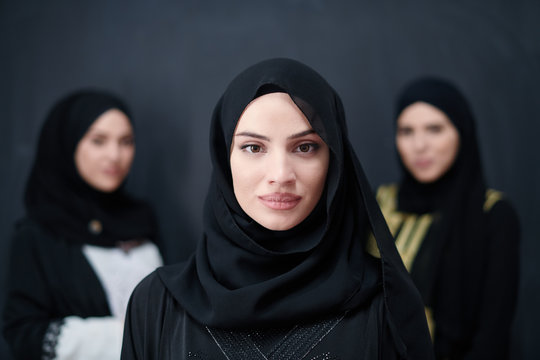 portrait of beautiful muslim women in fashionable dress