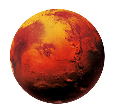 Mars the Red planet of the solar system in space. High resolution art presents planet Mars isolated on white.