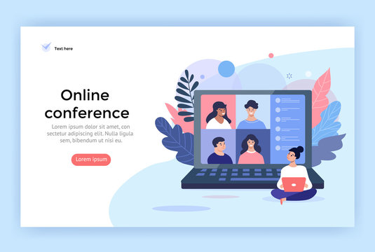 Video conference concept illustration. Friends using computer for online meetings and internet communications. Landing page design perfect for web, banner, mobile app, vector flat style.