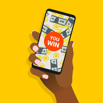 African female hand hold smartphone with you win message on screen. Afro-american woman show phone with banknotes and coins on display. Winning concept for online gambling. Vector EPS8 illustration.