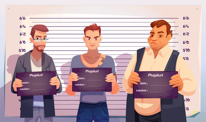 Criminals with mugshot plates in hands stand on measuring height scale background in police station. Arrested men gangsters posing for identification mug shot front photo. Cartoon vector illustration