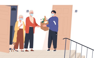 Wall Mural - Elderly couple in face masks receiving a bag of products from delivery man. Volunteer taking care of senior family during virus outbreak. Shopping help. Vector illustration in flat cartoon style