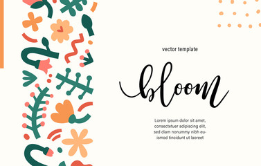 Contemporary floral template presentation cover or card, abstract scribble shapes and dots, bold doodle flower ornament, trendy background with copy space, design for invitation, certificate