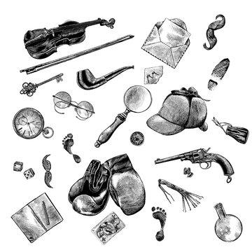 Sherlock Holmes, England, scrapbooking, background, engraving, illustration, ink, pen