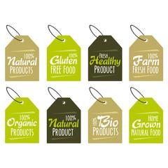 Wall Mural - organic, natural, bio and eco friendly products badges.