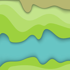 Fototapeten Lime grun Fond abstrait d'ondulation géométrique inspiré d'un paysage en vue aérienne.