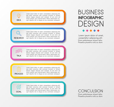 Business diagram with icons and 5 options. Infographic design. Vector