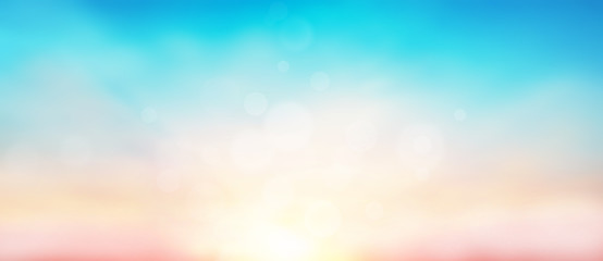 Blur pastels gradient sunset background on soft nature sunrise peaceful morning beach outdoor. heavenly mind view at a resort deck touching sunshine, sky summer clouds. Fotobehang