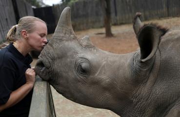 Yolande van der Merwe kisses an orphaned rhino in Mookgopong