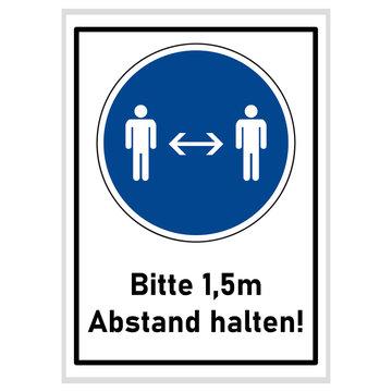 Social distancing - Bitte 1,5m Abstand halten - Gebotsschild blau