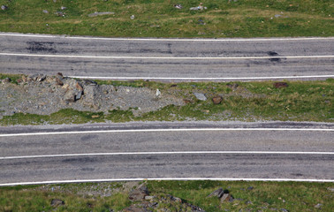 Drone view of parallel roads at Transfagarasan