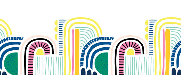 Seamless abstract doodle shapes vector border. Cute geometric collage shapes and doodles repeating pattern blue pink yellow black on white. Modern line art for footer, kids decor, fabric trim, card