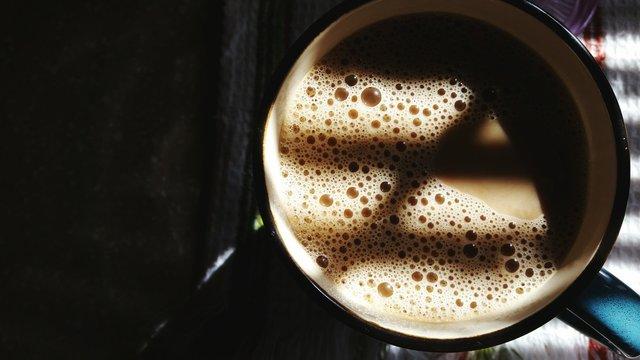 High Angle View Of Tea In Mug On Table