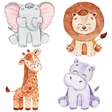 watercolor happy african animals set isolated on white background. Safari wildlife. Lion, hippo,elephant,giraffe decoration for baby shower and birthday