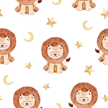 watercolor brown baby lion and stars seamless pattern on white background for fabric,textile,branding,invitations,scrapbooking,wrapping