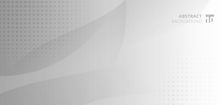 Abstract background banner web template white and gray curve circle with halftone.