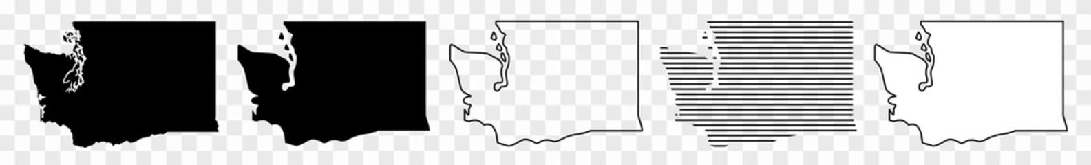 Washington Map Black | State Border | United States | US America | Transparent Isolated | Variations Fototapete
