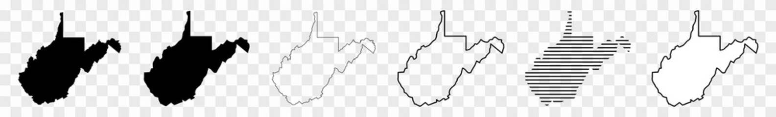 West Virginia Map Black | State Border | United States | US America | Transparent Isolated | Variations Fotobehang