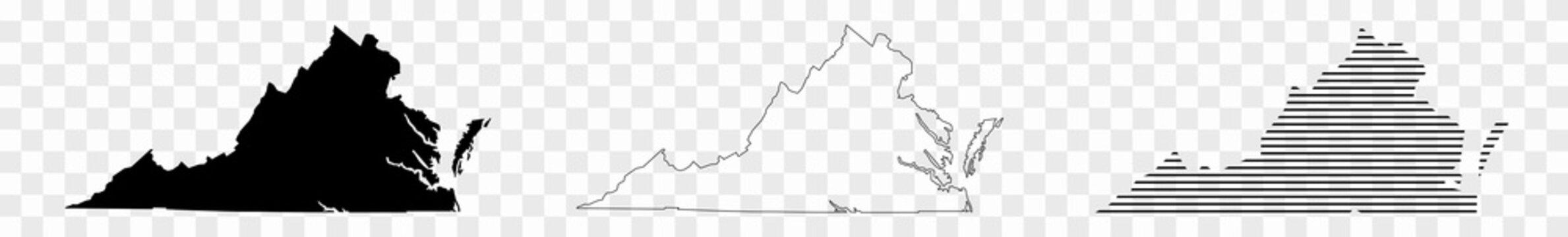 Virginia Map Black   State Border   United States   US America   Transparent Isolated   Variations