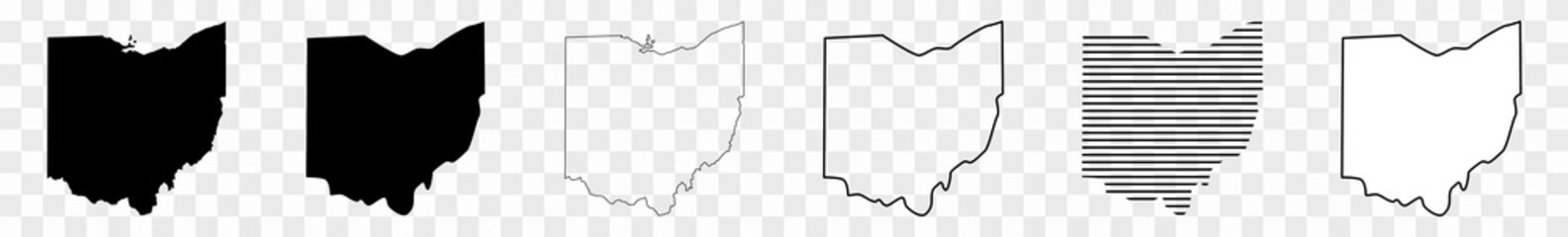 Ohio Map Black | State Border | United States | US America | Transparent Isolated | Variations Fotomurales