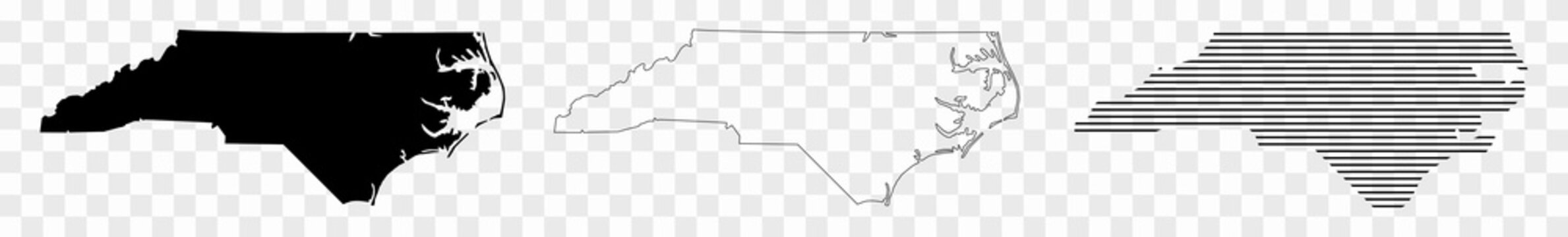 North Carolina Map Black | State Border | United States | US America | Transparent Isolated | Variations