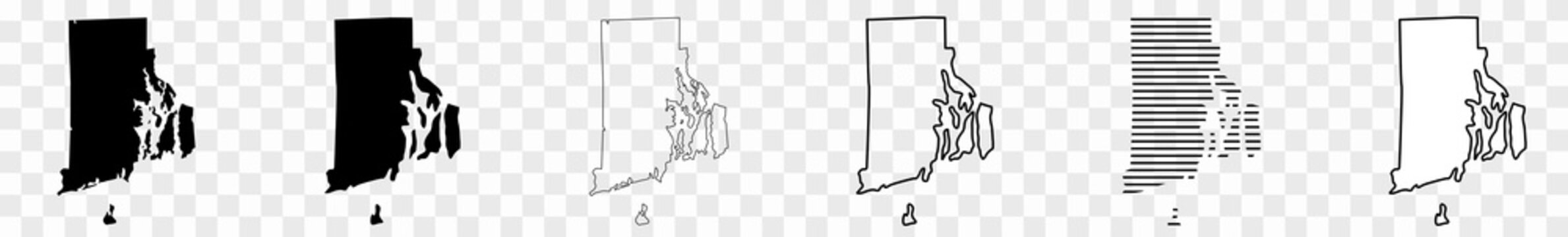 Rhode Island Map Black | State Border | United States | US America | Transparent Isolated | Variations