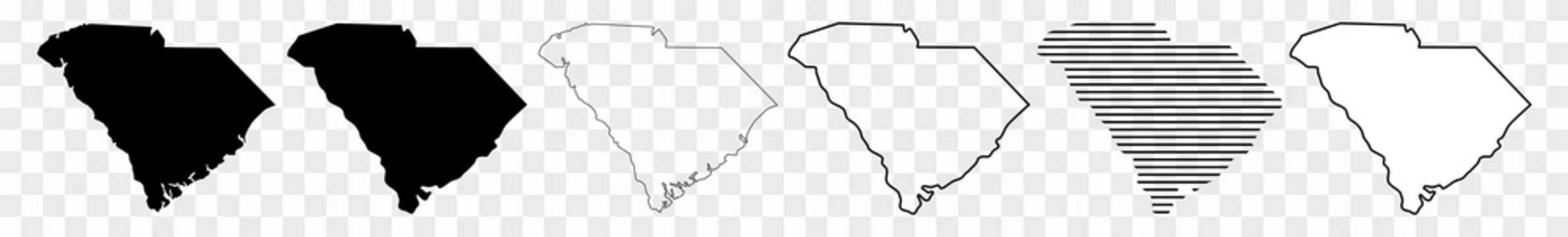 South Carolina Map Black | State Border | United States | US America | Transparent Isolated | Variations